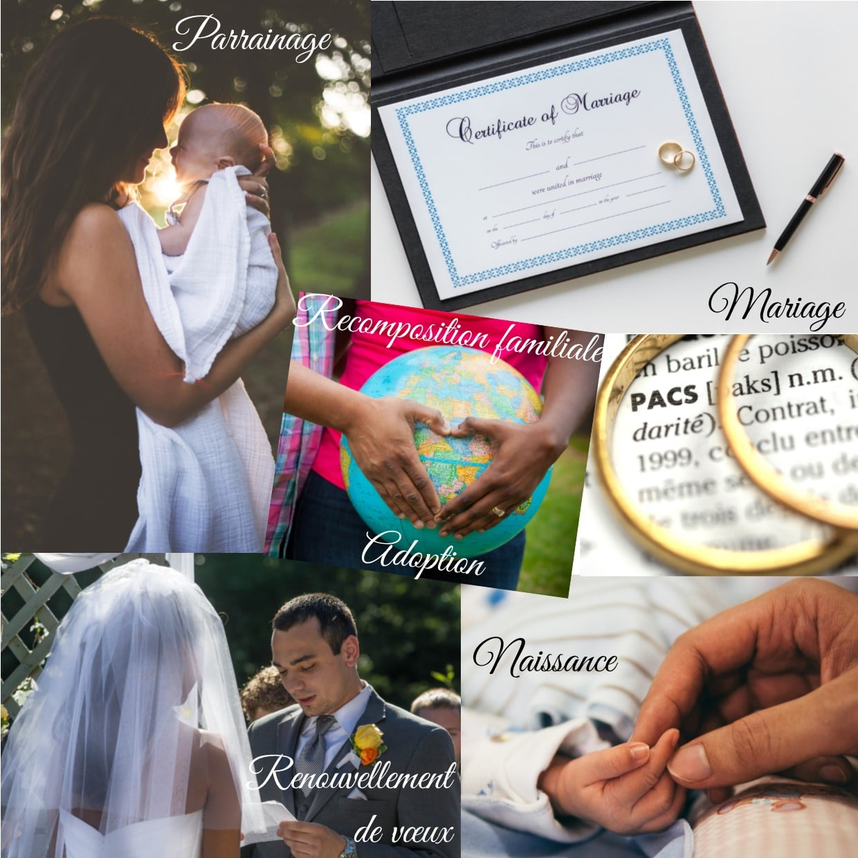 Une cérémonie laïque peut être organisée à l'occasion d'un mariage, d'un PACS, d'un renouvellement de voeux, d'une naissance, d'une adoption, d'un baptême, d'un parrainage ou pour les familles recomposées