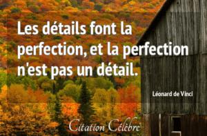 Les détails dont la perfection, et la perfection n'est pas un détail. Léonard de Vinci